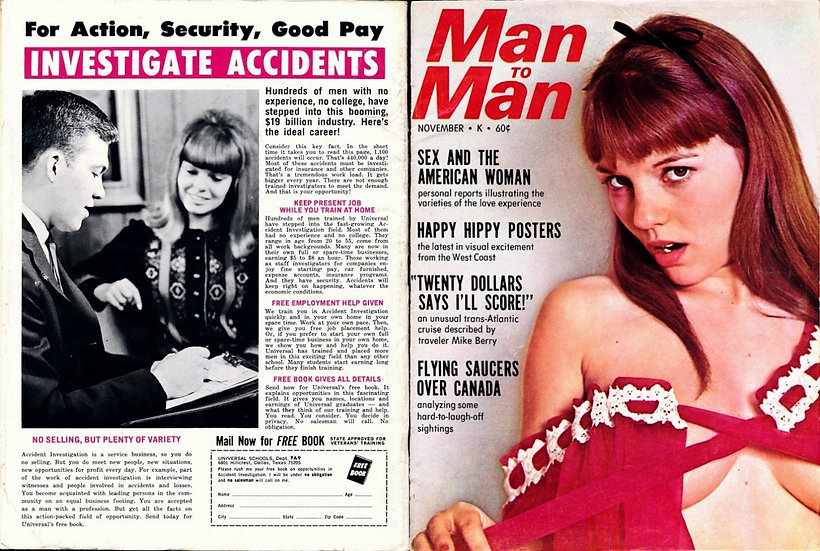 Man to Man (Vintage adult magazine, Michelle Angelo cover, 1967)