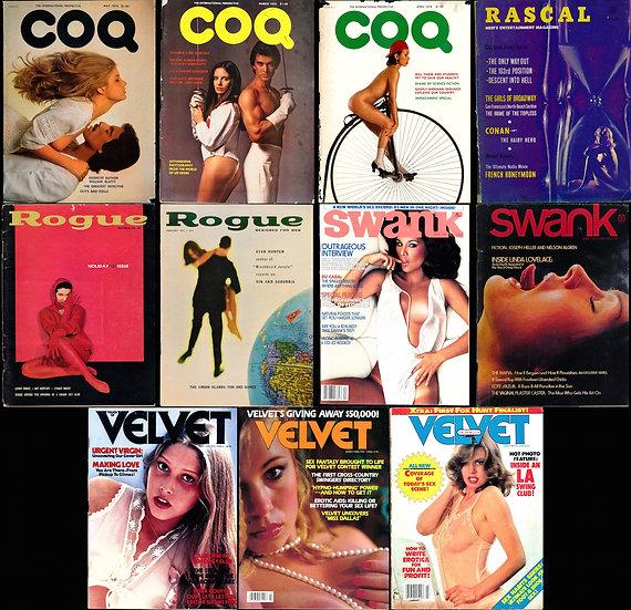 Rogue, CoQ, Rascal, Swank, Velvet (11 vintage adult magazines)