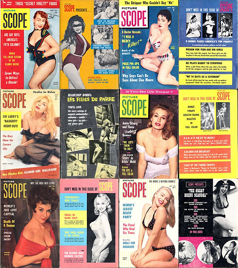 Picture Scope (8 vintage tabloid/pinup digest magazines, 1955-61)