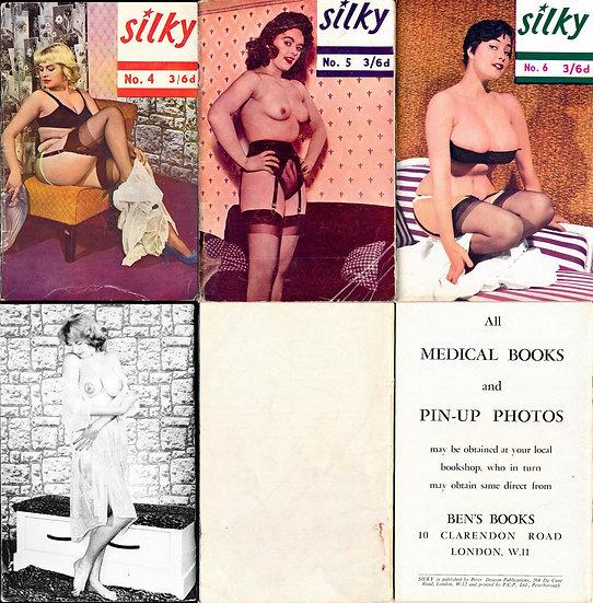 Silky (3 vintage British adult digest magazines, Ann Austin features, 1950s)