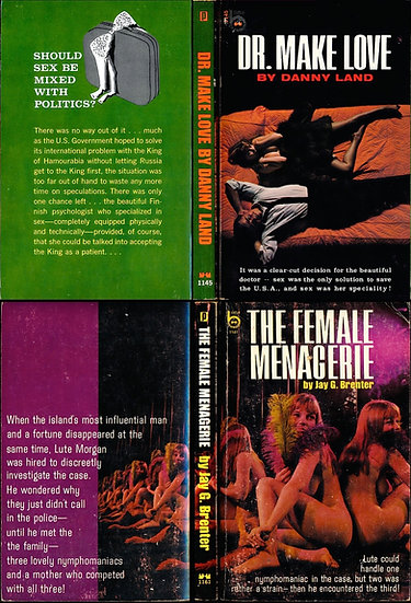 Dr. Make Love, The Female Menagerie (2 adult paperbacks, Michelle Angelo, 1968)