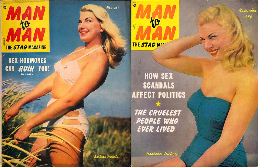 Man to Man (2 vintage pin-up magazines, Barbara Nichols covers, 1952)