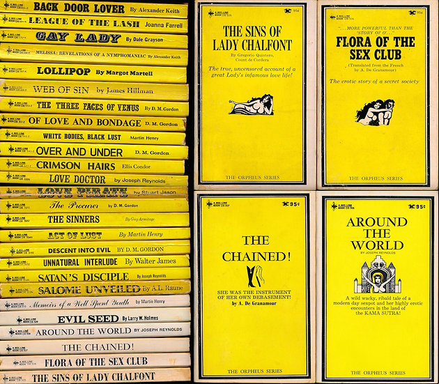 Bee-Line Book: Orpheus Series (26 vintage adult paperbacks)