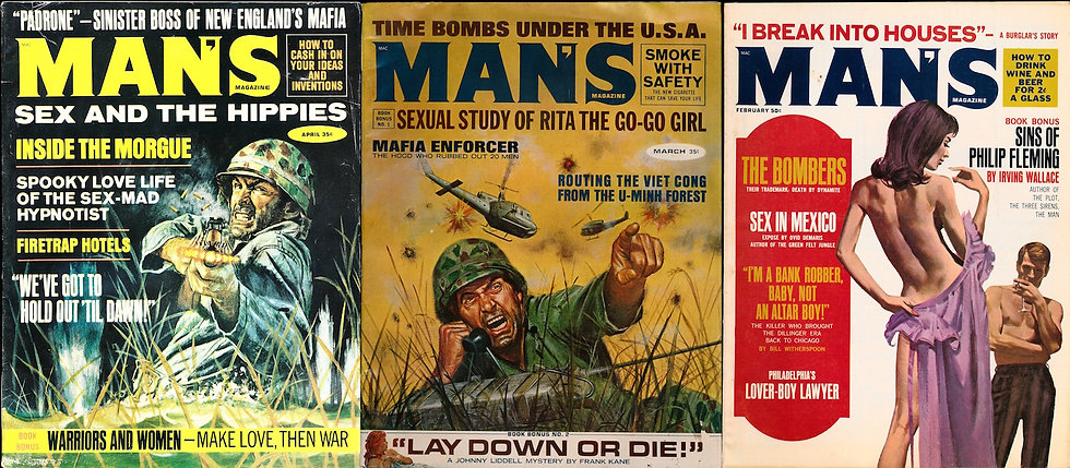 Man's Magazine (3 vintage adventure magazines, 1967-69)