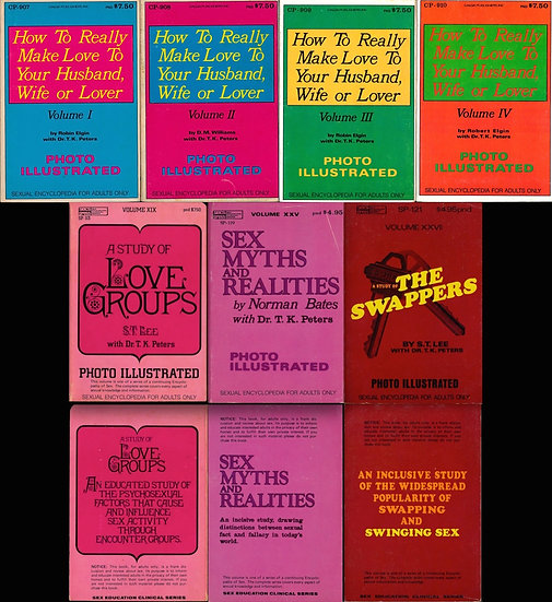 T.K. Peters, and others (7 vintage adult digest paperbacks, 1970s)