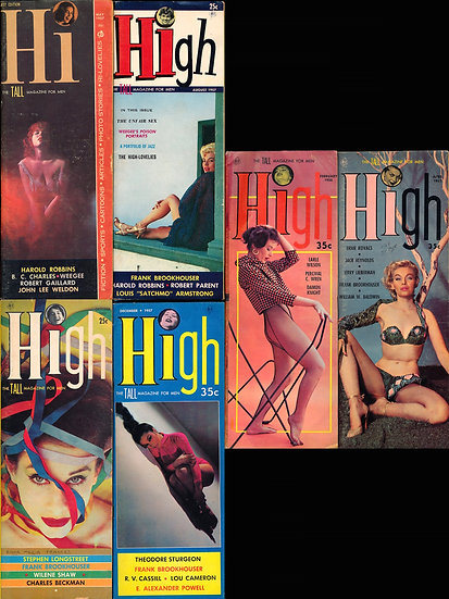 Hi / High [The Tall Magazine for Men] (6 vintage pin-up magazines, 1957-58)