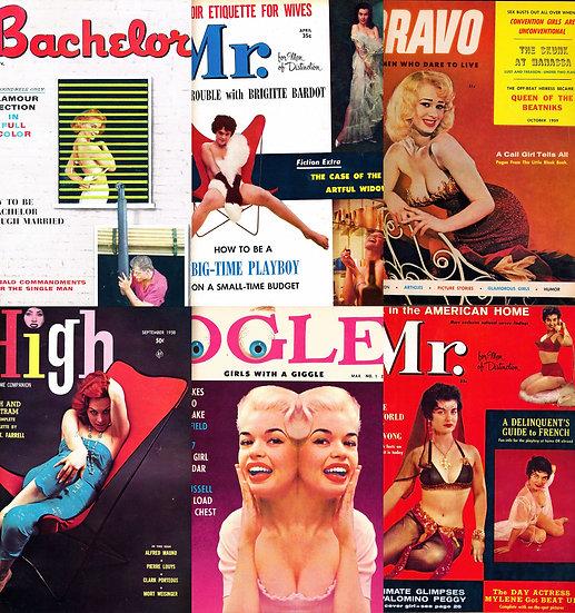 Bachelor / Mr. / Bravo / High / Ogle (5 vintage pin-up magazines bound together)