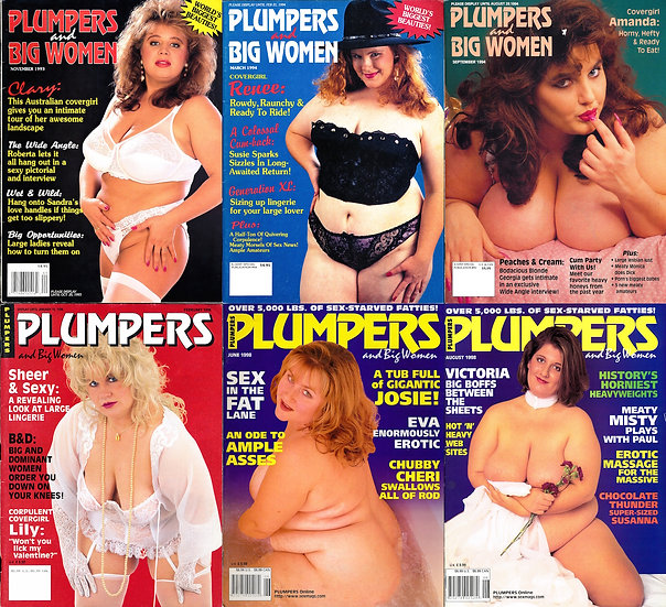 Plumpers and Big Women (6 vintage adult magazines, 1993-98)