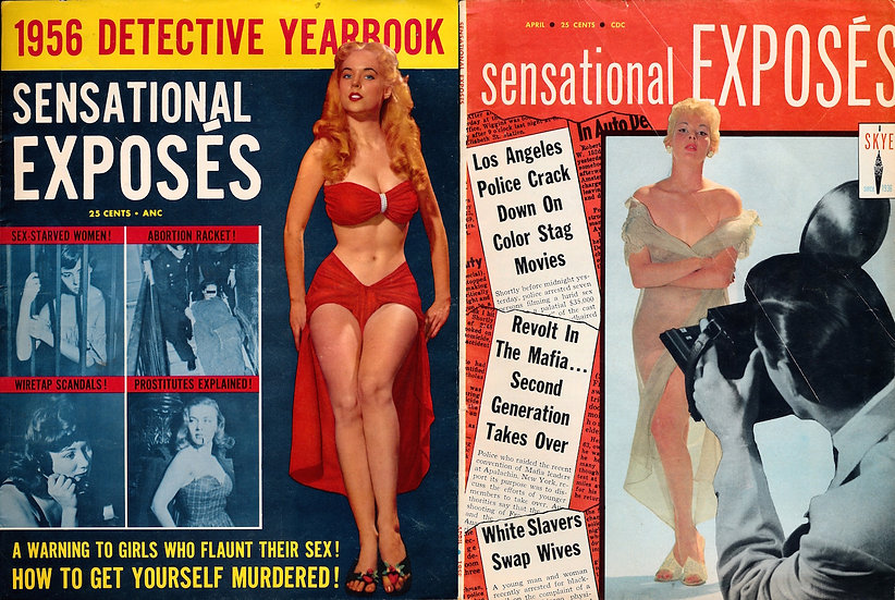 Sensational Exposes (2 vintage crime magazines, 1956-58)