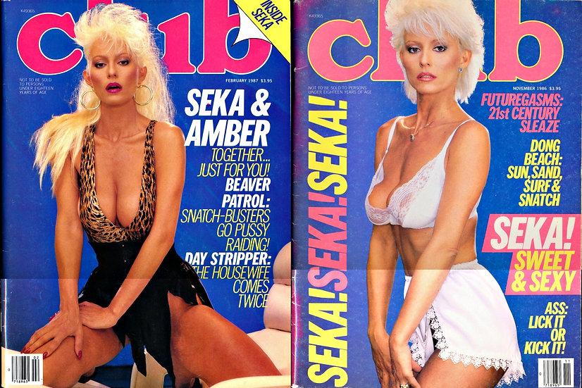 Club (2 Vintage adult magazines featuring Seka, 1986-87)