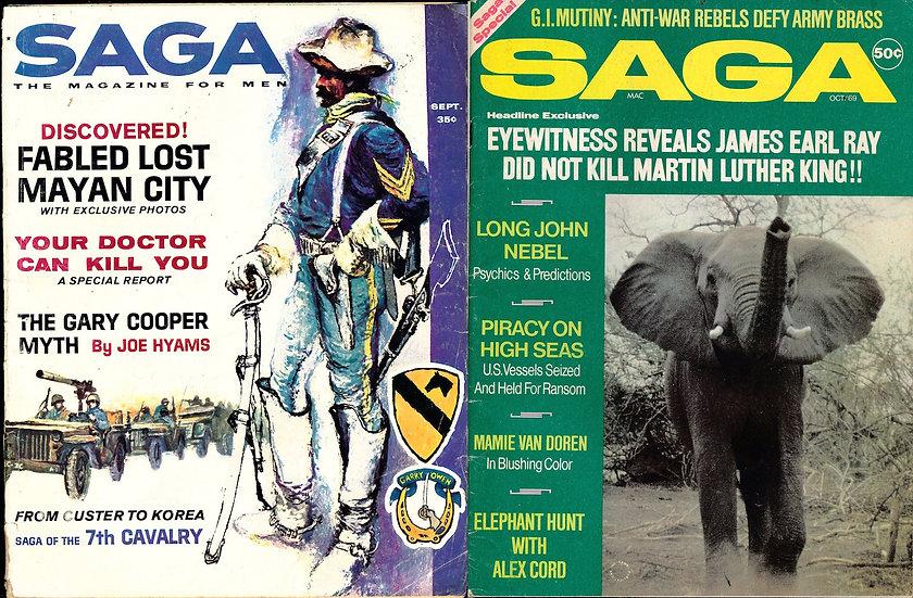 Saga [The Magazine for Men] (2 vintage adventure magazines, 1961, 1969)