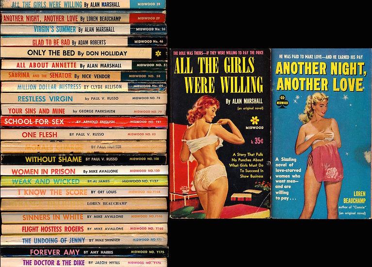 Midwood Books: 0-100 series (23 vintage adult paperbacks, 1960-62)