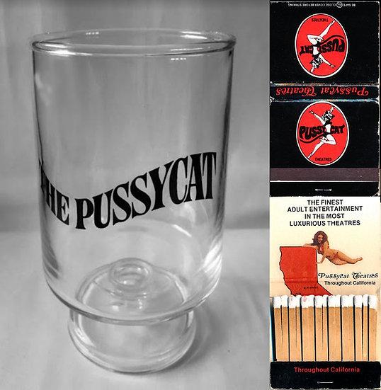 The Pussycat [Theatre] (Vintage Highball souvenir glass & matchbook, 1970s)