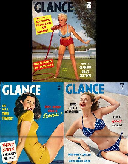 Glance (3 Vintage tabloid-size magazines, 1950-52)