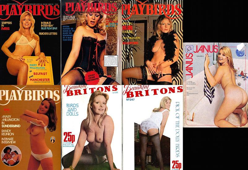 Mary Millington: Playbirds, Janus, Beautiful Britons (7 British magazines)