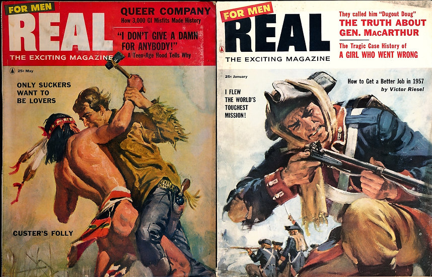 Real [for Men] (2 vintage adventure magazines, 1956-57)