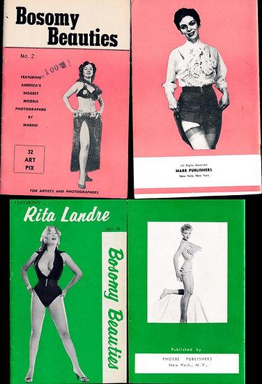 Bosomy Beauties (2 vintage adult pinup digest magazines, 1950s)