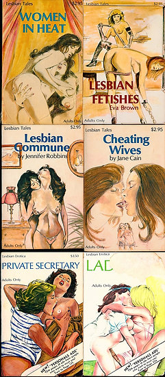 Lesbian Erotica, and Lesbian Tales (6 vintage adult paperbacks)