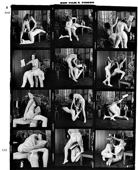 Flagellation in the study (Original negative contact sheet, 2 nude women, 1970s)