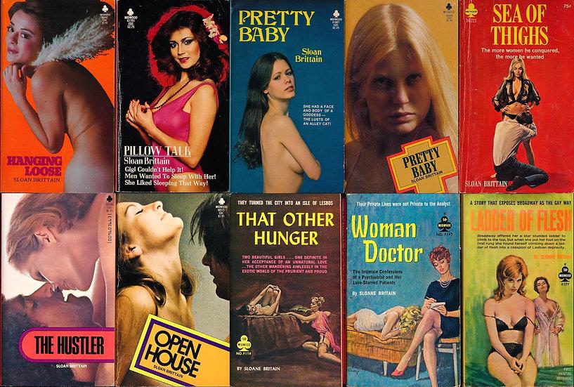 Sloane Britain on Midwood (10 vintage adult paperbacks)