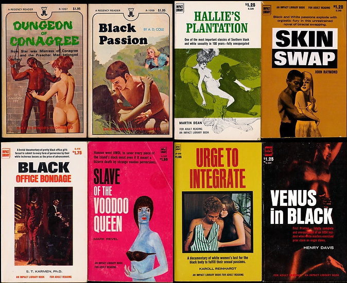 Interracial, Black Exploitation (8 vintage adult paperbacks, 1968-73)