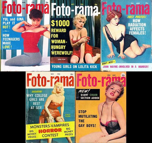 Foto-rama (5 vintage pinup digest magazines, 1957-60)