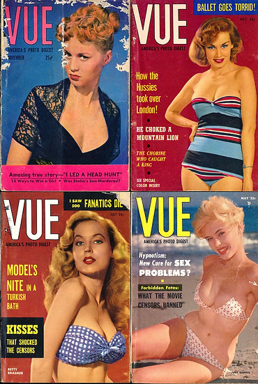 Vue [America's Photo Digest] (4 vintage digest pin-up magazines, 1951-57)