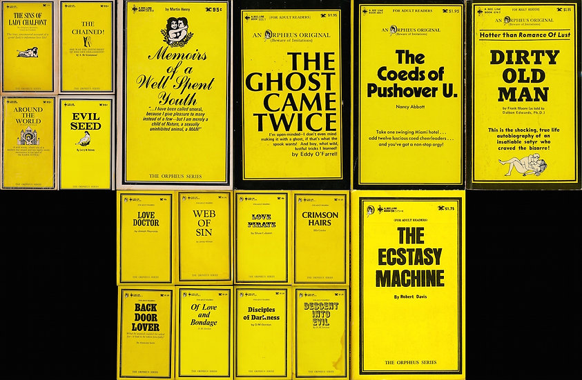Bee-Line Book: Orpheus Original series (17 vintage adult paperbacks)