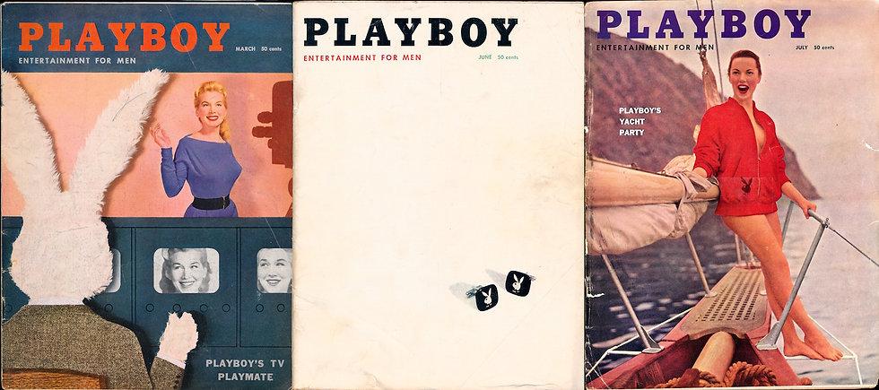 Playboy (3 vintage adult magazines, reader lot, 1956-57)