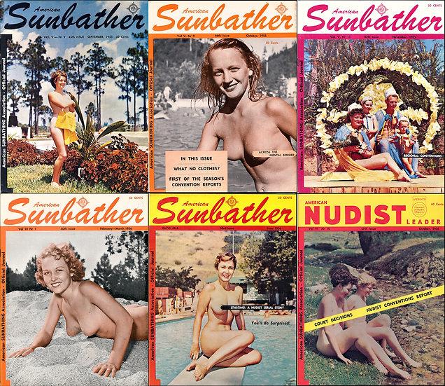 American Sunbather [and Nudist Leader] (6 vintage nudist magazines, 1955-56)
