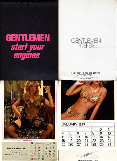 Auto Shop Calendars (6 Vintage pin-up calendars, 1972-96)