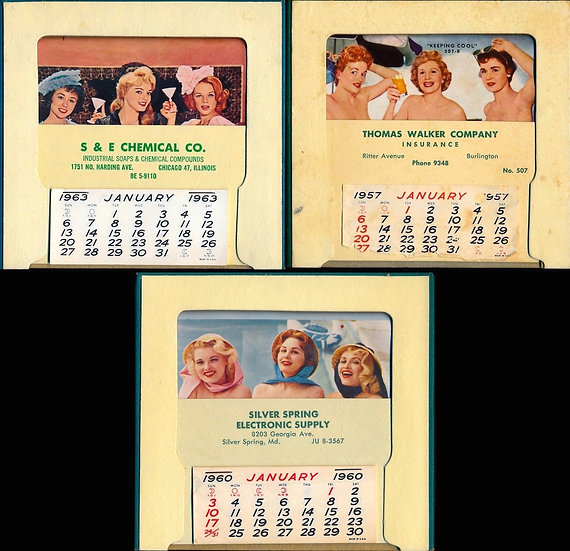 Sue Snow, Margie Moran nudists (3 Vintage pinup calendars)