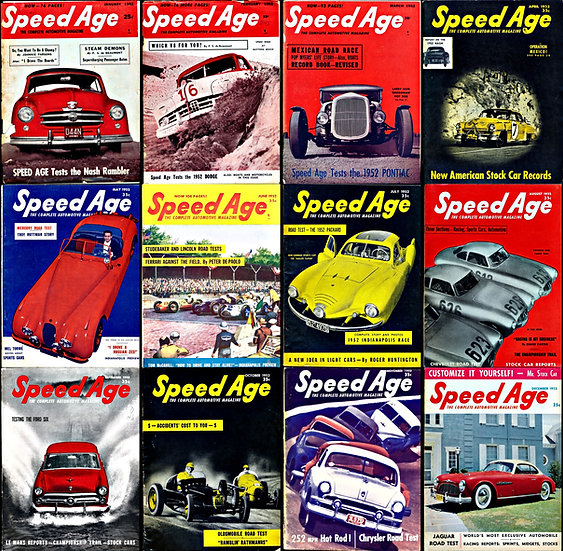 Speed Age: The Complete Automotive Magazine (12 Vintage magazines, 1952)