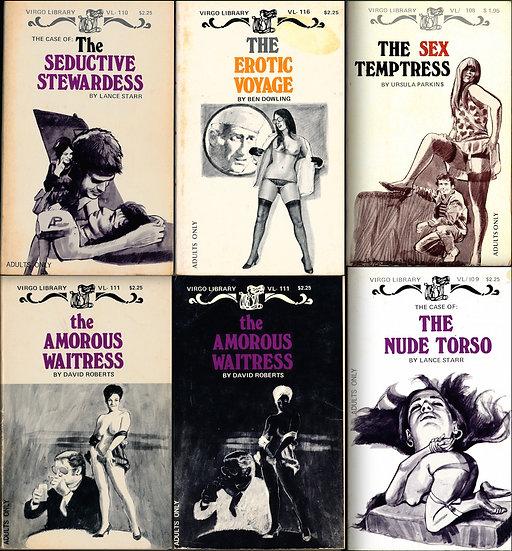 Virgo Library (5 vintage adult paperbacks, 1970s)