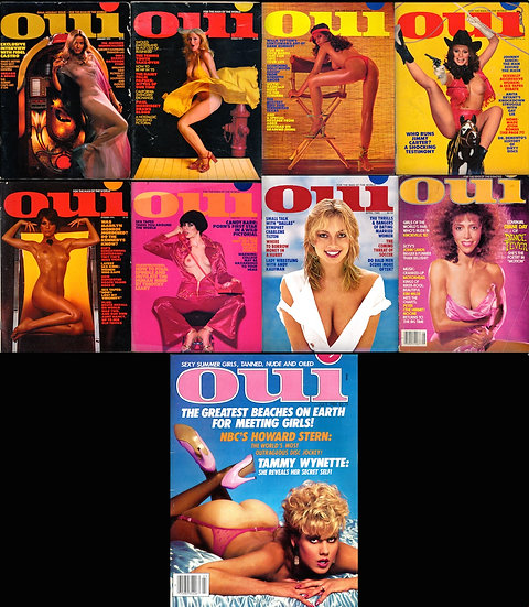Oui [For the Man of the World] (9 vintage adult magazines, 1975-84)