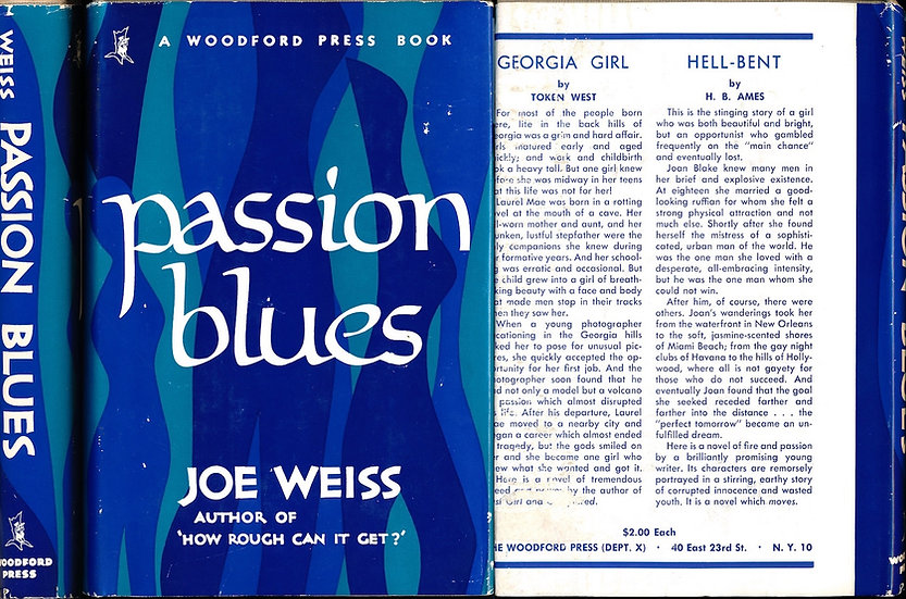 Passion Blues (Vintage hardcover sleaze, First Edition, 1953)