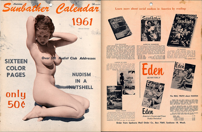American Sunbather Calendar (Original Nudist Calendar, Sue Snow cover, 1961)