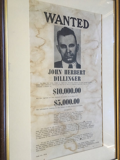 Wanted: John Dillinger (Vintage F.B.I. Wanted poster, 1934)