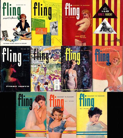 Fling (10 vintage adult digest magazines, 1957-59)