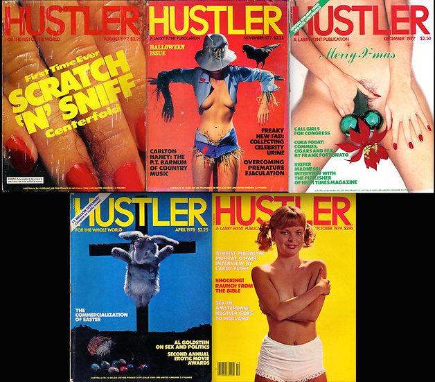 Hustler (5 vintage adult magazines, 1977-79)