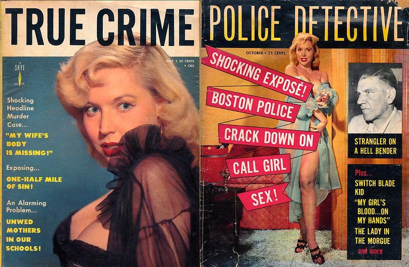 Betty Brosmer (2 vintage crime magazines, 1956 / 1958)