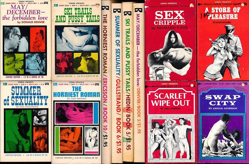 Svensk Zorro (8 vintage adult paperbacks, 1973-74)