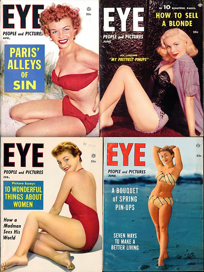 Eye [People and Pictures] (4 vintage tabloid pin-up digest magazines, 1955-56)