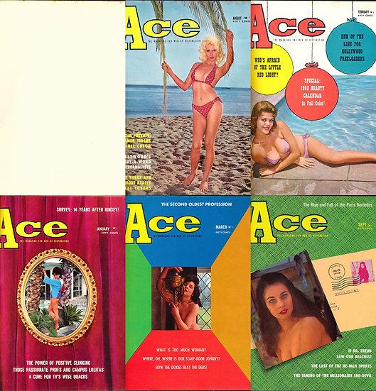 Ace (5 vintage pinup magazines bound together, 1961-63)