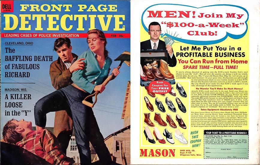Front Page Detective (Vintage crime magazine, femme fatale cover, 1964)