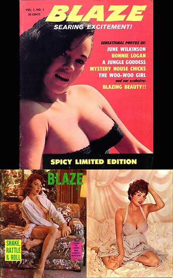 Blaze (2 vintage adult magazines, Bonnie Logan & Madeline Castle covers, 1959)