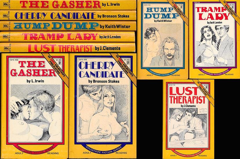 Goldstripe Fiction Series (5 vintage adult paperbacks, 1973-74)