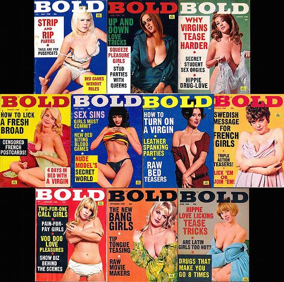 Bold (10 vintage adult digest magazines, 1968-69)
