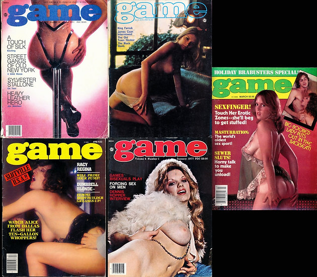 Game (5 vintage adult magazines, 1975-85)