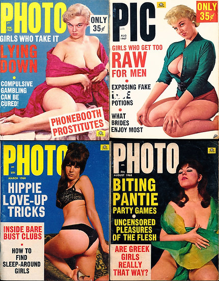 Pic / Photo (4 vintage adult digest magazines, 1967-68)